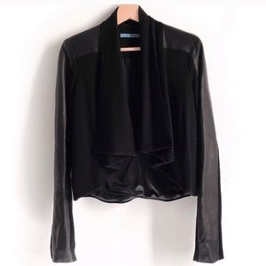 Alice + Olivia leather and wool draping jacket